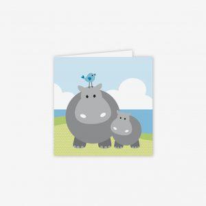 Födelsedagskort Hippo med baby