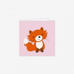 Födelsedagskort räv, rosa