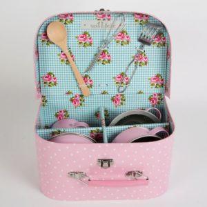 Köksset i väska, rosa/prickar
