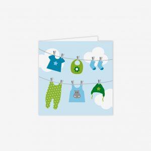 Kort tvättlina, blå/grön