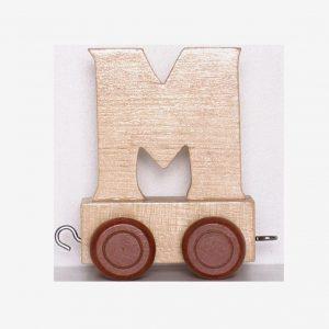 M – Bokstav till namntåg, trä