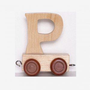 P – Bokstav till namntåg, trä