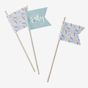 Partyflaggor strössel, vit/mint/guld