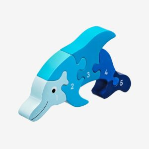 Pusseldjur delfin blå, siffror 1-5