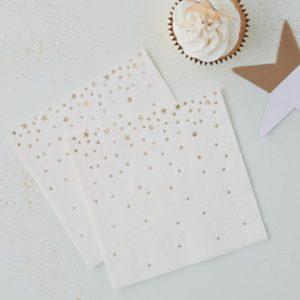 Servett stjärnor, vit/guld