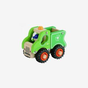 Sopbil i trä med gummihjul, grön