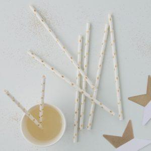 Sugrör stjärnor, vit/guld
