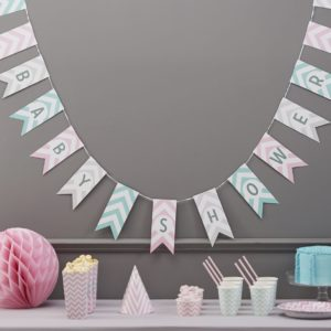 Vimpel Baby Shower, pastell
