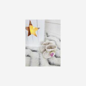 Virkade babyskor tossor, beige