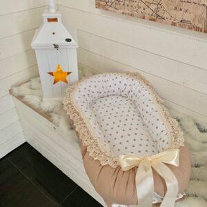 Babynest beige stjärna bomull