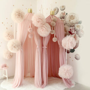 PomPom champagne med glitter (stora)