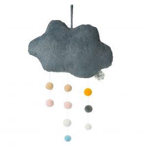 Mobil moln grå med pompoms