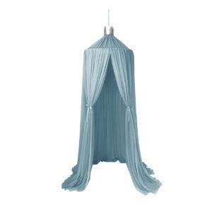 Sänghimmel Dröm ljusblå med krona i silver