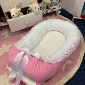 Babynest rosa/vit bomull