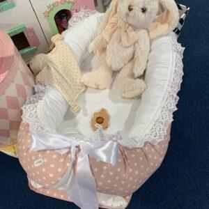 Babynest rosa/vit stjärna bomull