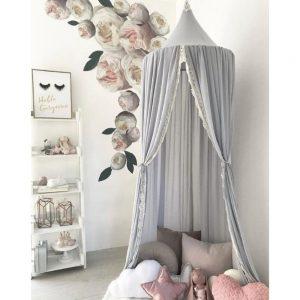 Sänghimmel Ecarla grå med spets