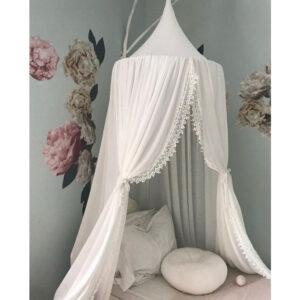 Sänghimmel Ecarla vit med spets