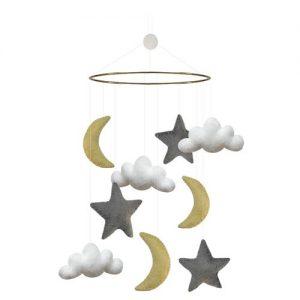 Mobil måne/stjärnor grå