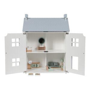 Möblerat dockhus vit/blå