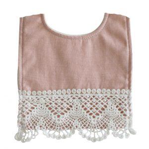 Haklapp i bomull/linne rosa spets