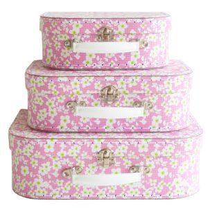Väskor rosa blommor 3-pack