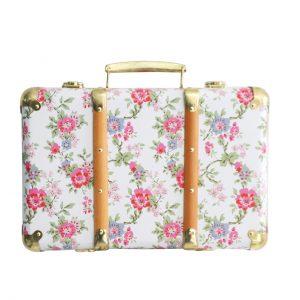 Resväska vit med blommor