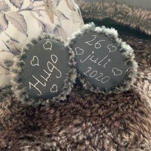 Skor baby päls grå med namn 0-1 år